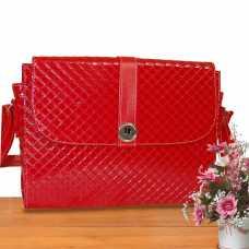 Bolsa Feminina Executiva Alça Transversal Grande, Notebook - Vermelha Verniz